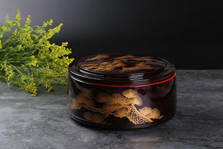 日本漆器 鳗鱼饭盒 溜珍珠老松