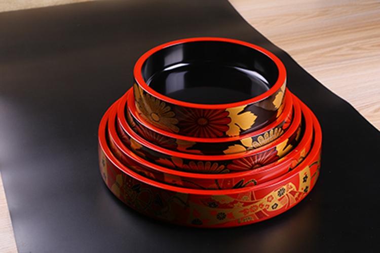 日本漆器 富士型桶 茶珍珠大菊